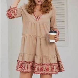 Esther & CO Mid Sleeve Bohemian Embroidered Short Dress Size 6